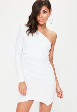 White One Shoulder Exaggerated Ruched Bodycon Dress