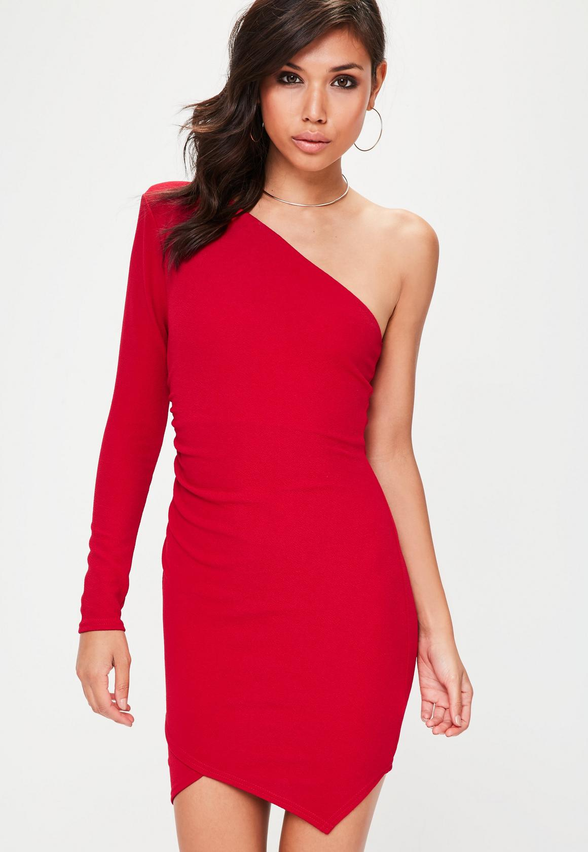 Red One Shoulder Exaggerated Ruched Bodycon Dress | Missguided