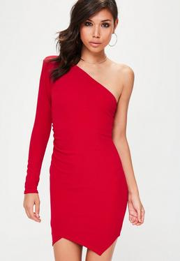 Red One Shoulder Exaggerated Ruched Bodycon Dress