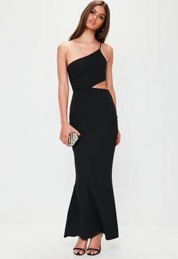 Black Cut Out One Shoulder Maxi Dress