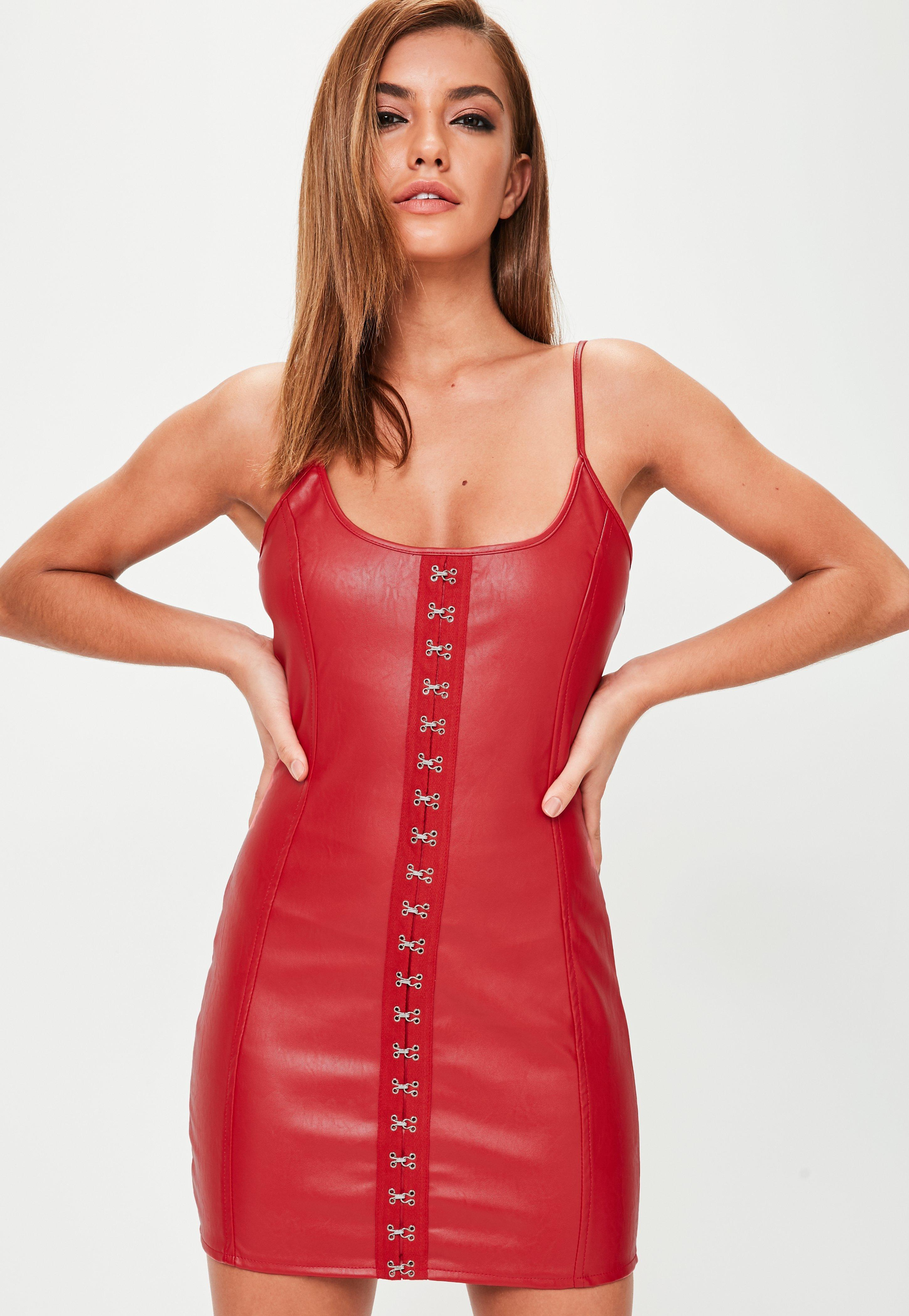 Red Faux Leather Hook and Eye Strappy Mini Dress | Missguided