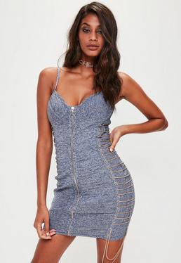 Blue Denim Bandage Chain Detail Dress
