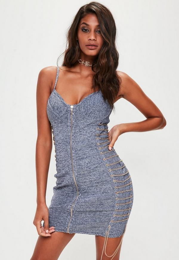 Blue Denim Bandage Chain Detail Dress