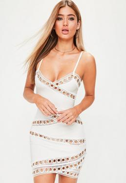 Premium White Bandage Eyelet Bodycon Dress