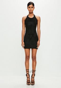 Peace + Love Czarna zamszowa sukienka na ramiączkach