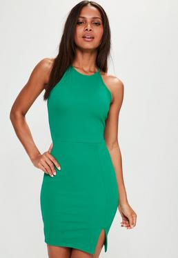 Green 90s Neck Side Split Dress