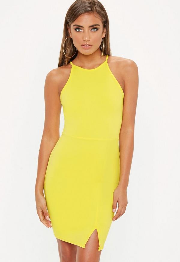 Yellow 90s Neck Side Split Dress