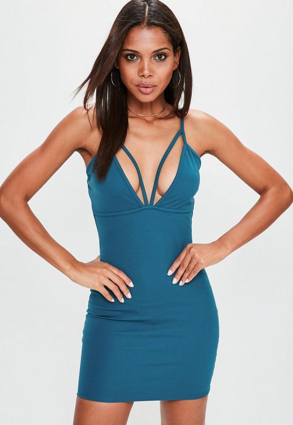 Blue Strappy Scuba Bodycon Dress