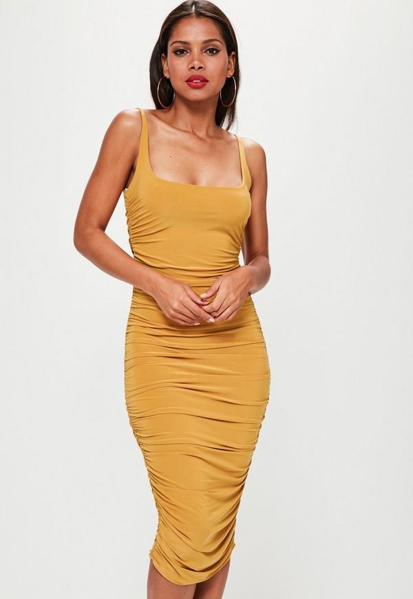 Orange Slinky Gathered Side Midi Dress