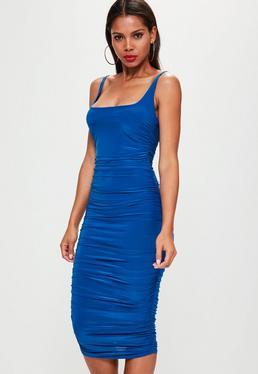 Blue Slinky Gathered Side Midi Dress