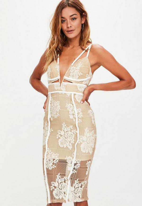Nude Lace Plunge Cut Out Midi Dress