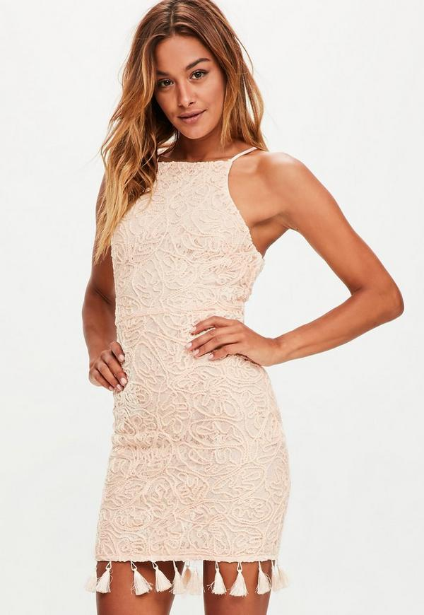 Nude Cornelli Lace Tassel Hem High Neck Mini Dress