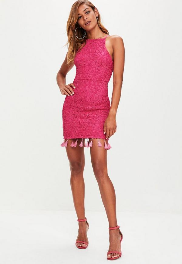 Pink Cornelli Lace Tassel Hem High Neck Mini Dress