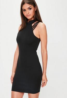 Black High Neck Multi Strap Bodycon Dress