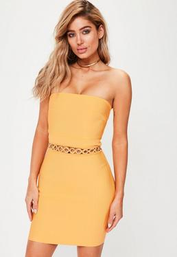 Premium Orange Bandage Eyelet Detail Dress