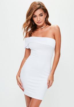 White Overlay Bandeau Bodycon Dress