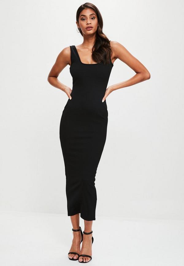 Black Ankle Grazer Square Neck Maxi Dress