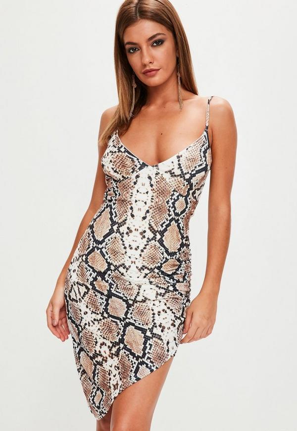 White Strappy Snake Print Midi Dress
