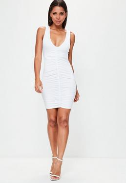 White Sleeveless Ruched Front Bodycon Dress