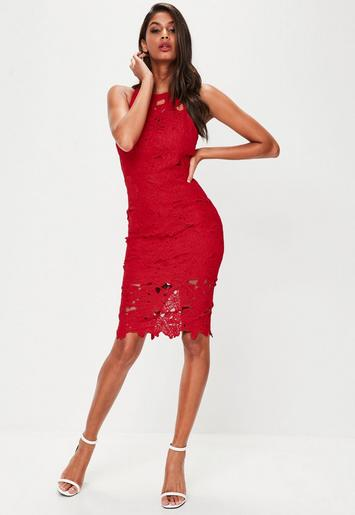 Red Crochet Lace Midi Dress Missguided