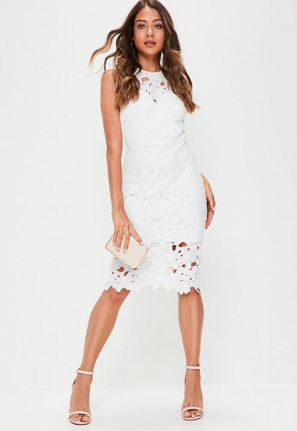 White Crochet Lace Back Detail Midi Dress