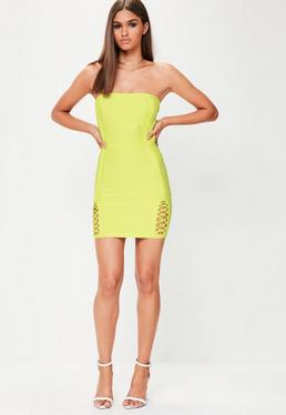 Premium Minikleid mit Lace-Up Cut-Outs in Neon Grün