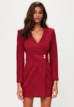 Peace + Love Red Faux Suede Wrap Dress