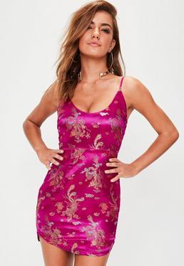 Pink Jacquard Strappy Mini Dress