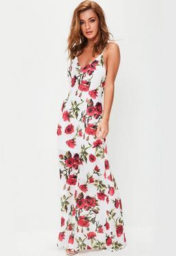 Robe longue blanche à imprimé fleuri