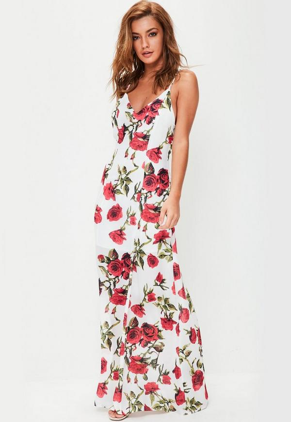 White Floral Strappy Detail Maxi Dress