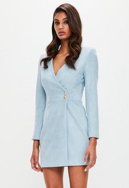 Peace + Love vestido cruzado en antelina azul
