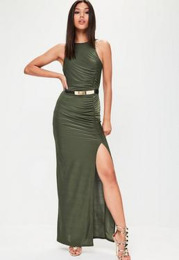 Khaki Ruched Side Split Maxi Dress