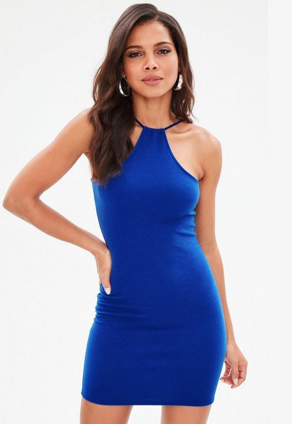 Blue Racer Neck Bodycon Dress