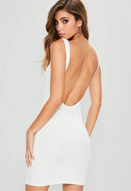 White Ribbed Scoop Back Bodycon Dress
