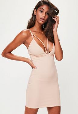 Nude Strappy Scuba Bust Cup Bodycon Dress