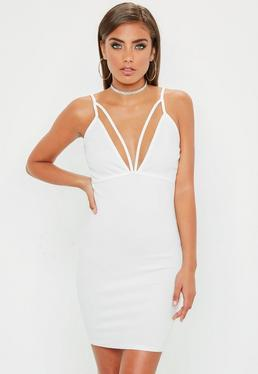White Strappy Scuba Bust Cup Bodycon