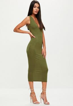 Khaki Jersey Square Bust Midi Dress