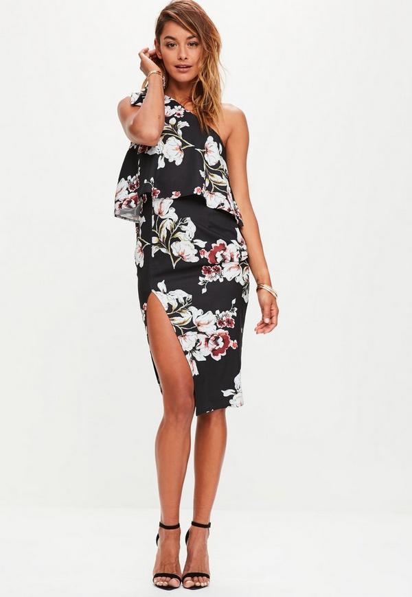 Black Printed Crepe One Shoulder Midi Dress