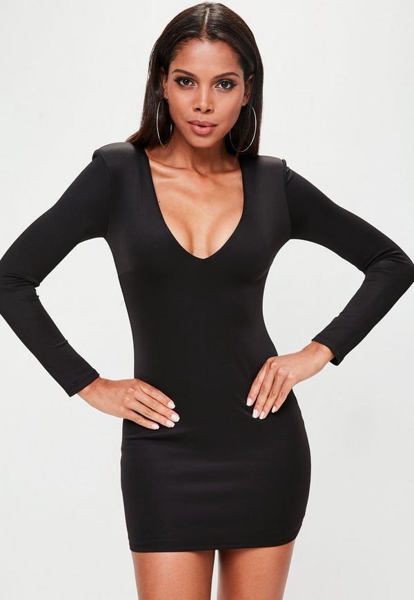 Black Extreme Shoulder Plunge Mini Dress