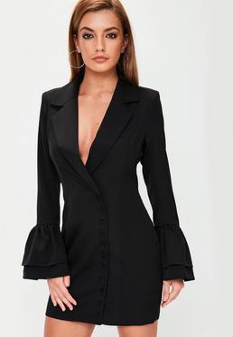 Czarna żakietowa sukienka z falbankami na rękawach