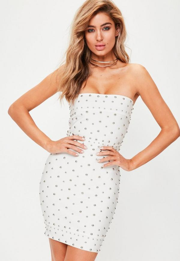 White Premium Studded Bandage Dress
