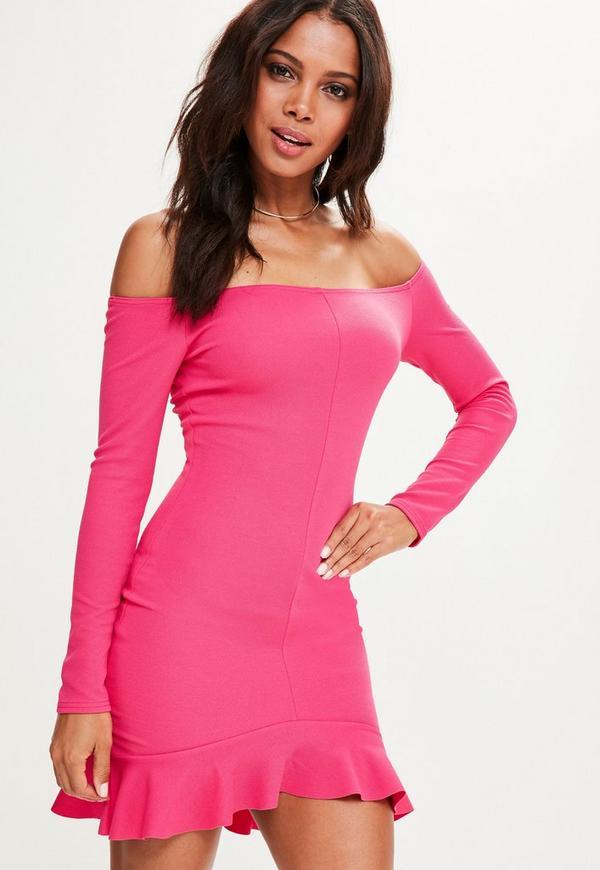 Pink Crepe Frill Hem Longline Bardot Mini Dress