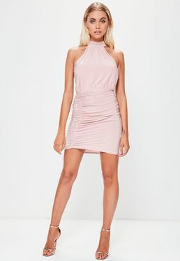 Lilac Slinky Gathered Front High Neck Mini Dress