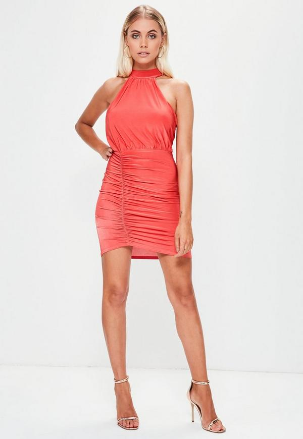 Red Slinky Gathered Front High Neck Mini Dress