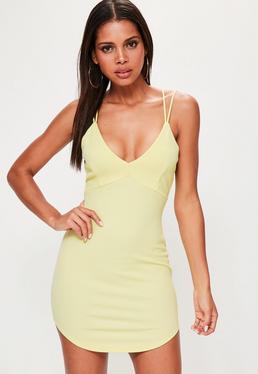 Vestido corto con tirantes dobles en amarillo limón