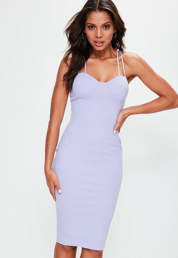 Purple Padded Bust Midi Crepe Dress - Missguided