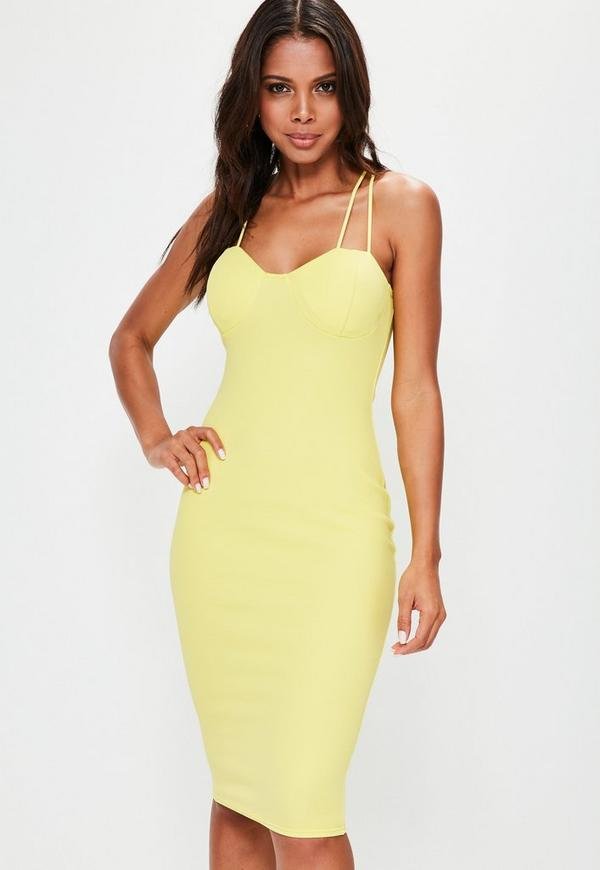 Yellow Padded Bust Midi Crepe Dress