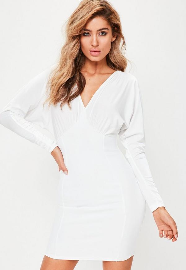 White Scuba Batwing Mini Dress