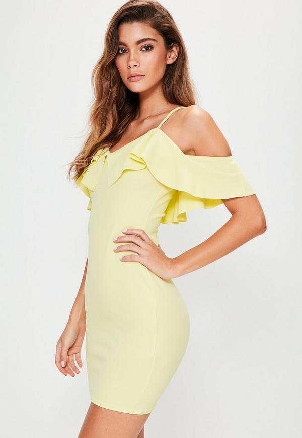 Yellow Crepe Frill Layer Bodycon Mini Dress