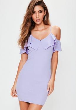 Lilac Crepe Frill Layer Bodycon Mini Dress